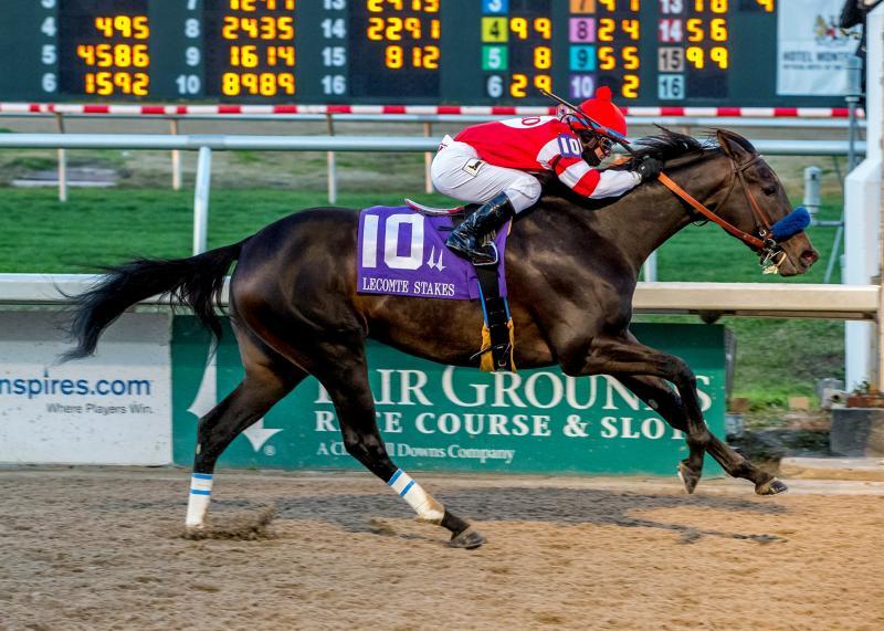 Instilled Regard winning the Lecomte Stakes