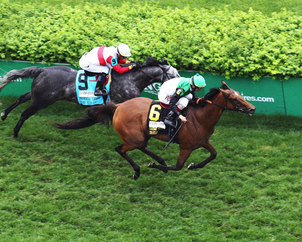 PROCTOR'S LEDGE - The Longines Churchill Distaff Turf Mile G2 - 33rd Running - 05-05-18 - R07 - CD - Aerial Finish 01