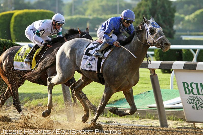 Essential Quality (Tapit) and jockey Luis Saez win the Belmont…