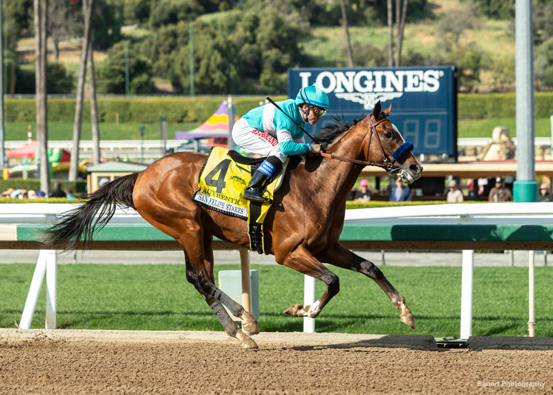 Authentic wins the San Felipe Stakes (Benoit Photography)