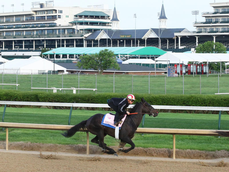 Serengeti Empress works ahead of the 145th Kentucky Oaks