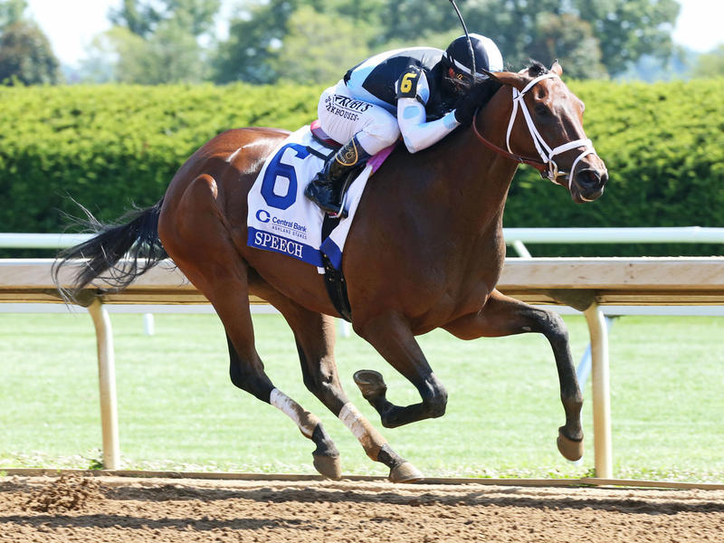 Speech winning the Ashland Stakes (G1) (c) Coady photo