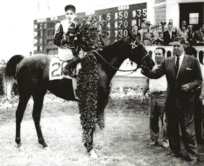 1954 Kentucky Derby winner Determine with jockey Ray York