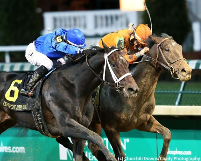 Enticed ekes out head score over Tiz Mischief in eventful Kentucky Jockey Club