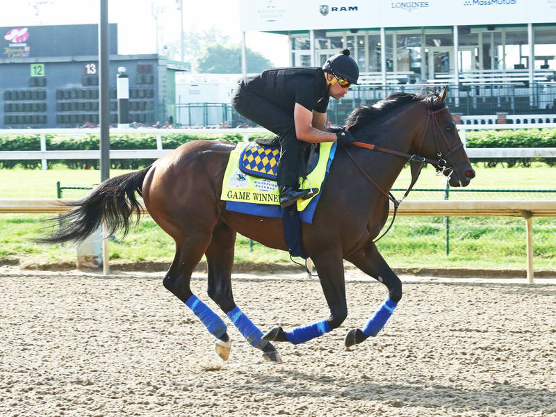 Game Winner galloping at Churchill Downs ahead of the 145th Kentucky Derby