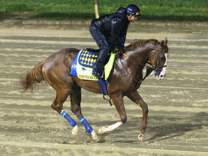 Improbable gallops ahead of the 145th Kentucky Derby at Churchill Downs